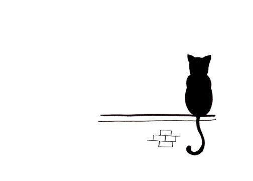 Dessin de chat - Simple noir et blanc Art Print - assis et d'attendre
