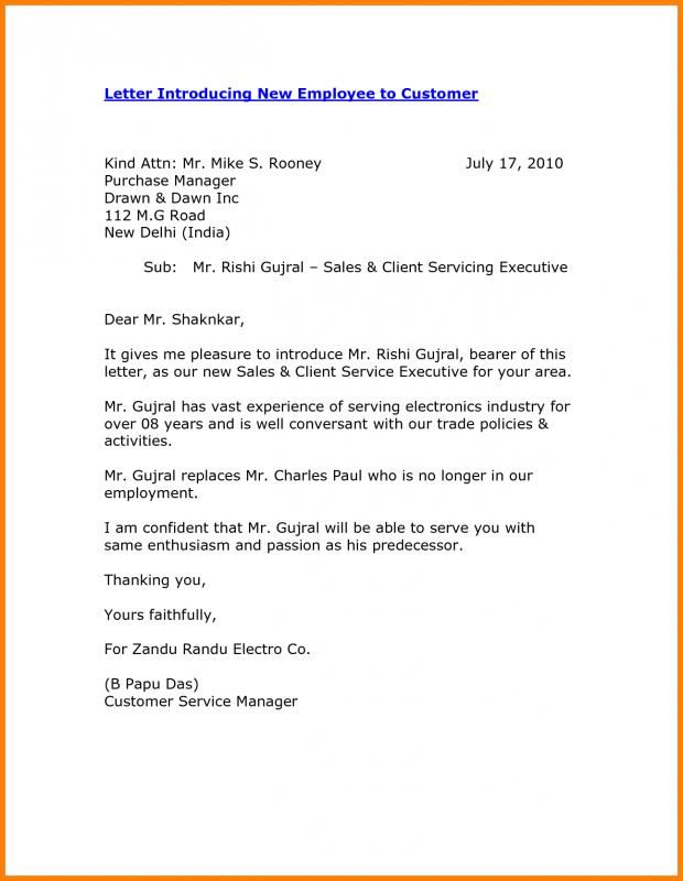 Letter Of Introduction For Employment Introduction Letter New Employee Email Template Business