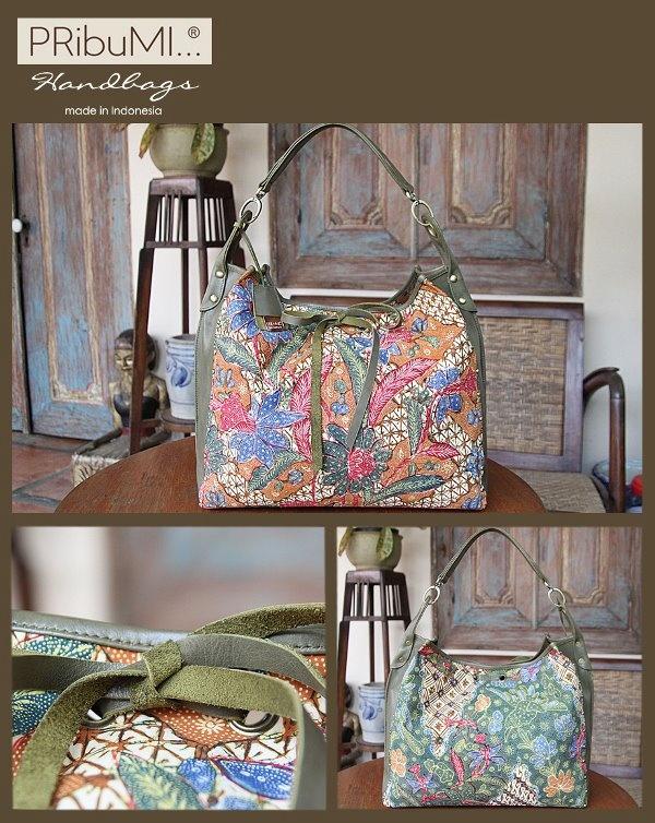 TORAJA  Hobo Bag / Style Series / Small Size / Serial # 0741166H / Kain Adik Baji Solo / Olive Italian Premium Genuine Cow Leather / 25 Juli 2012 / by Cici Saharto - go with Lala
