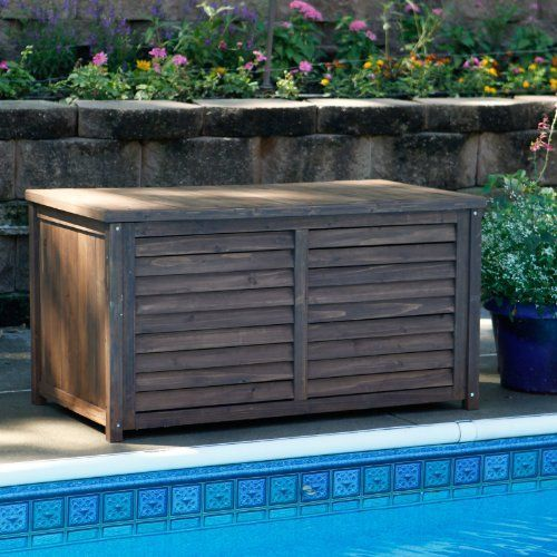 Gardeners Choice Deck Box - Dark Brown by Coral Coast. $169.99. Constructed from durable Asian fir. Slatted front in a tiered fashion. Simple design in a Dark Brown finish. Ideal for patio cushions, gardening tools, and pool toys. Dual hinges hold lid open when fully extended. When it comes to deck boxes, you want to make a good decision--like choosing the Gardener's Choice Deck Box - Dark Brown. A dual-hinge lid opens to reveal a...