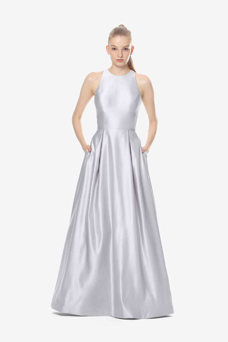 Brooke bridesmaid gown by David Tutera for Gather & Gown. Silver bridesmaid gown. Satin bridesmaid gown.