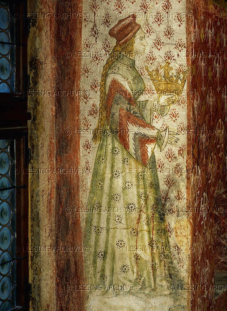 "Margarete Maultasch (""Satchel-mouth""),Countess of Tyrol (1318-1369),in a mural in a window embrasure of the ""bath-chamber"" in Runkelstein castle,South-Tyrol,Italy. The countess,ruler of Tyrol,is shown three times in the Runkelstein murals in scenes of courtlife and hunting.   Runkelstein castle, Bolzano(Bozen), Italy"