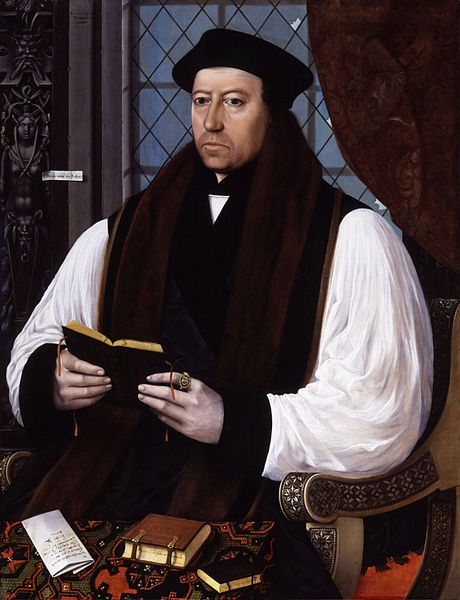 Thomas Cranmer, Archibishop of Canterbury, creator of first liturgy in English, the Book of Common Prayer