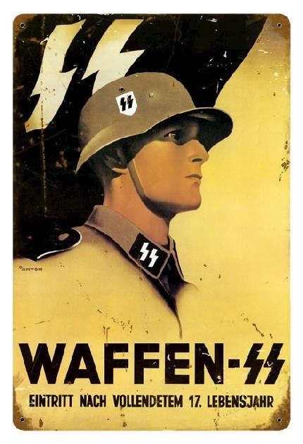 GERMAN WAFFEN SS METAL SIGN