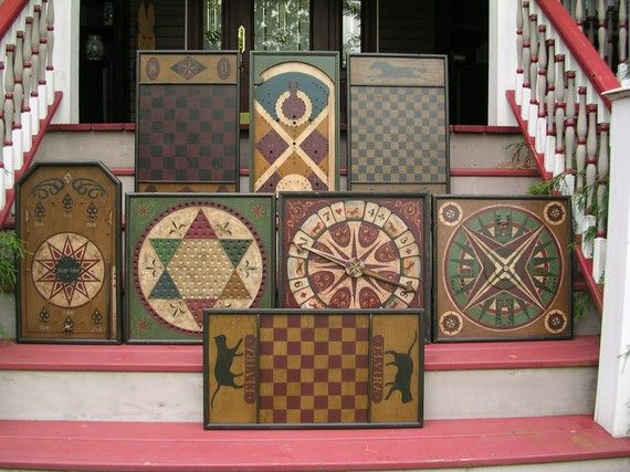 Folk Art Game Boards - I would love to have these to decorate with on our porch.