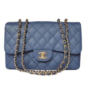 Chanel Shoulder Crossbody 28600 Gold chain Blue Sale