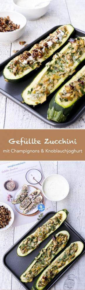 Gefüllte Zucchini mit Champignons - Low Carb und Weight Watchers geeignet