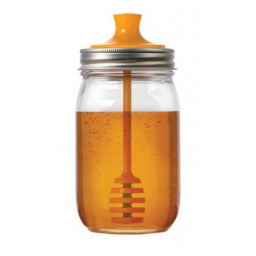 Une magnifique façon de conserver le miel et le de servir tout en donnant une seconde vie à votre pot Mason.