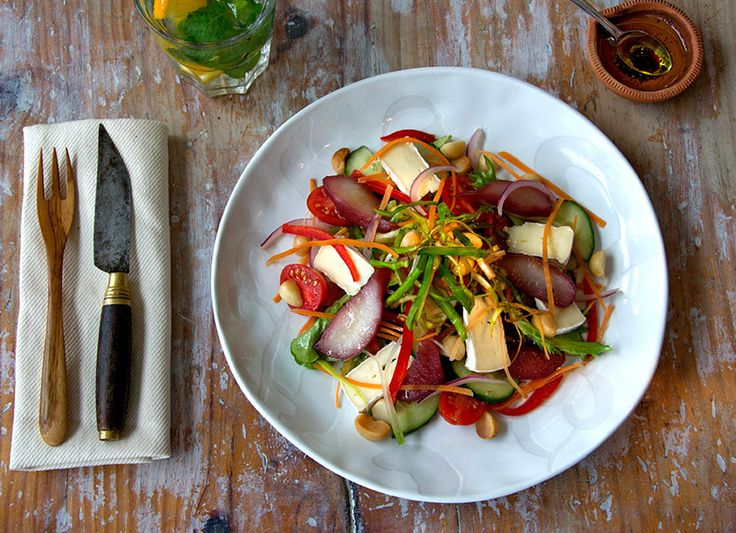 Red wine poached pears, brie and toasted macadamia nut salad. #vegetarian #freshsalads #SidewalkCafe #madamezingara