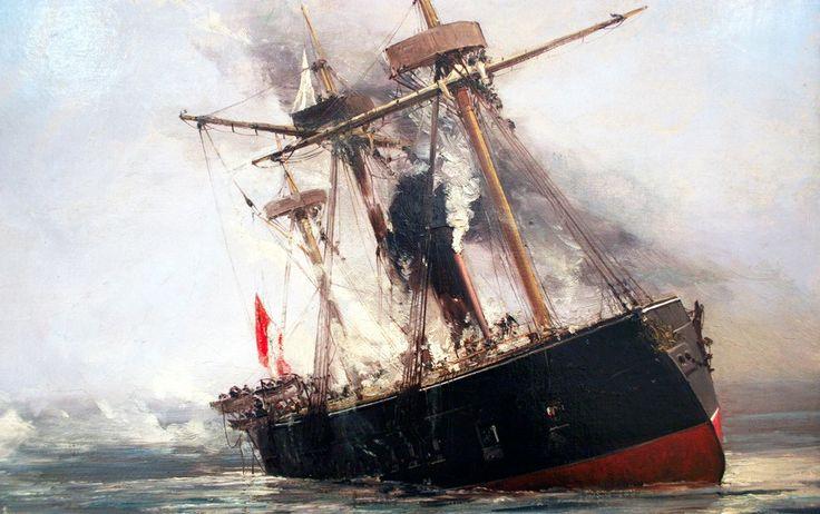 la Fragata Independencia rendida en la bahía de Cheureñate, Punta Gruesa, 21 de mayo de 1879, detalle del Oleo de Thomas Somerscales