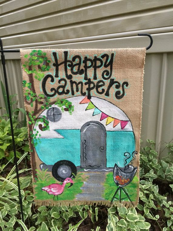 Hey, I found this really awesome Etsy listing at https://www.etsy.com/listing/453646132/handpainted-burlap-garden-flag-happy