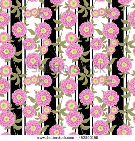 Floral seamless pattern in retro style, cute  pink flowers white background…