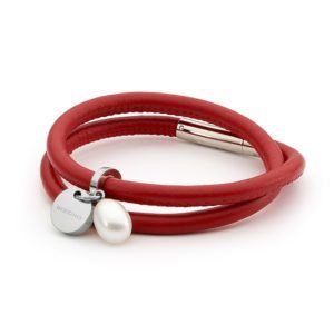 Pearl Drop & Red Leather Bracelet w Tag - Shop our jewellery store in Port Fairy - Victoria, Australia.
