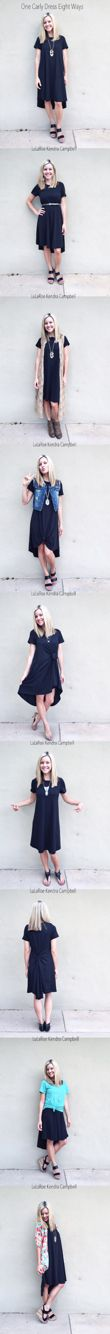 One LuLaRoe Carly dress worn eight different ways. The Carly swing dress is a blank canvas to be styled (and re-styled) however you please!  ❤️