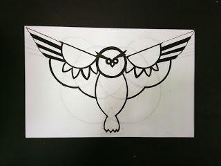 logo design : Owl with basic shapes