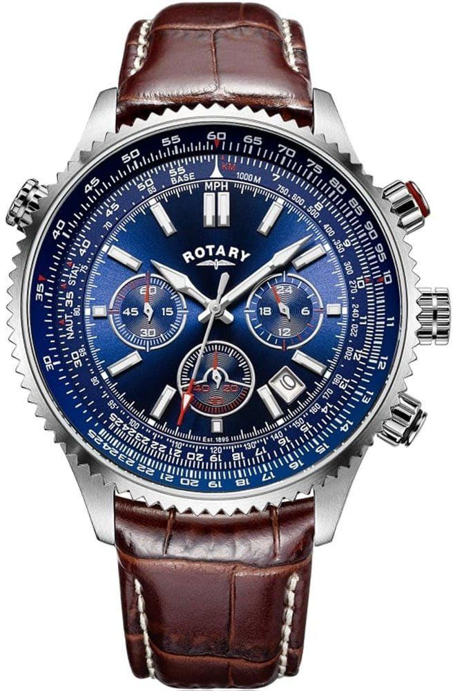 Rotary Watch Aviation Mens #add-content #bezel-unidirectional #bracelet-strap-leather #brand-rotary #case-depth-14-8mm #case-material-steel #case-width-46mm #chronograph-yes #date-yes #day-yes #delivery-timescale-1-2-weeks #dial-colour-blue #gender-mens #