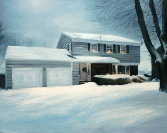 Winter Cottage Portrait Painting on Canvas from Your Photo