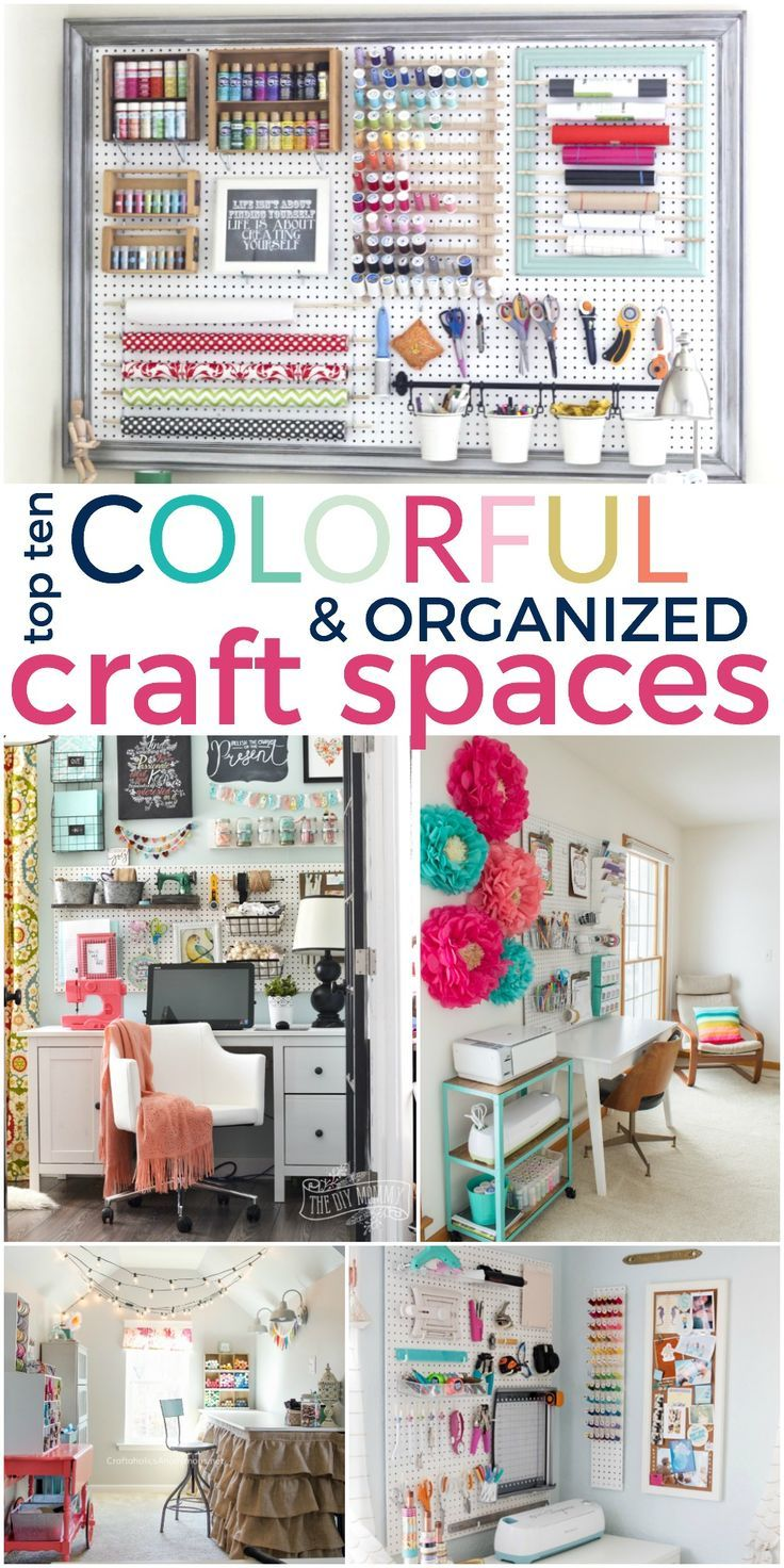 Gorgeous Top 10 Colorful and Organized Craft Spaces - get inspired!!