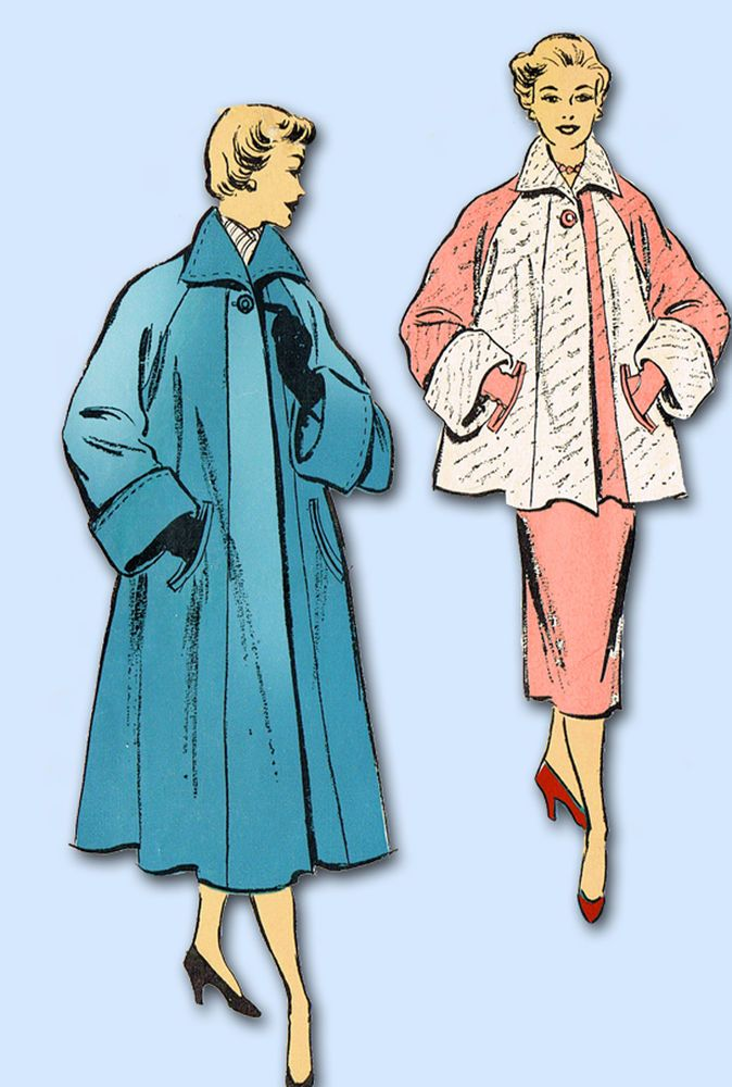 1950s Vintage New York Sewing Pattern 1170 Uncut Misses Swagger Coat Size 34 B #NewYork