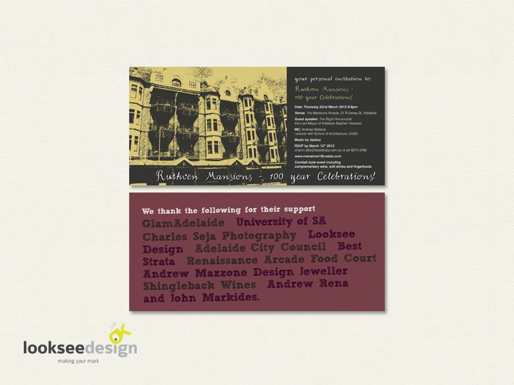 Ruthven Mansions 100 Year Celebrations Invitation - Designed by Looksee Design
