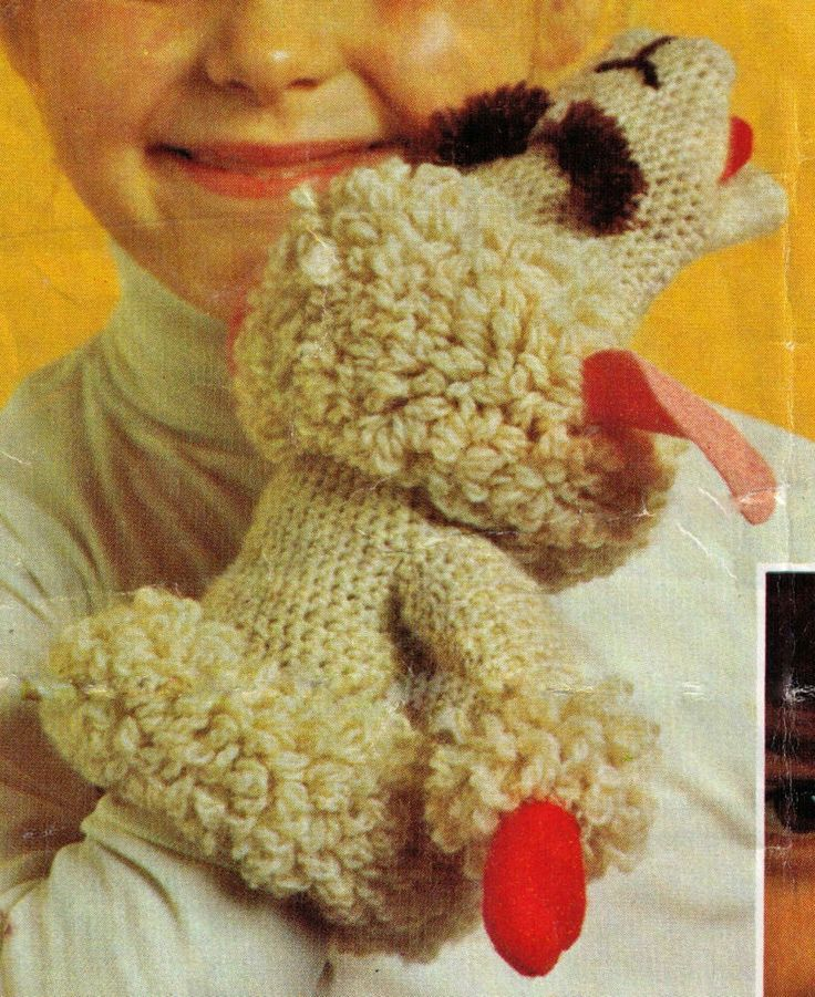 VINTAGE 1960'S FAMOUS TV GLOVE PUPPET LAMB CHOP SOFT TOY 8PLY CROCHETING PATTERN