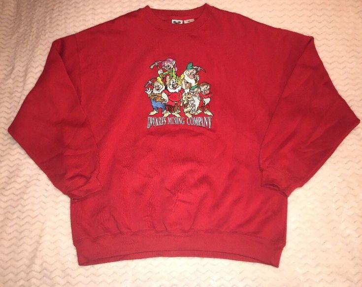 Men's Vintage Walt Disney Catalog 7 Dwarfs Mining Company Sweatshirt XXL Red  | eBay