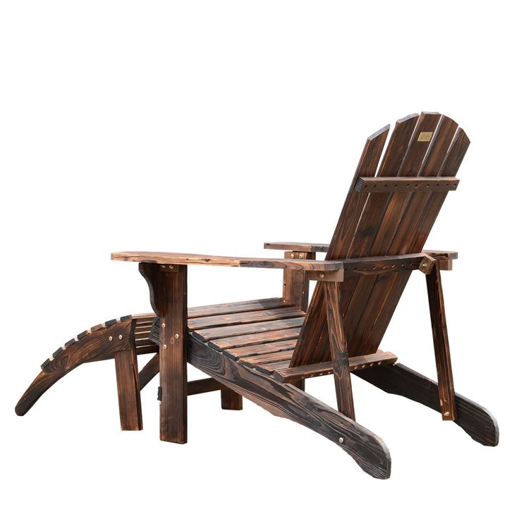 Adirondack Outdoor Patio Deck Wood Lounge Chair Seat W Ottoman Carbonized  Brown | EBay