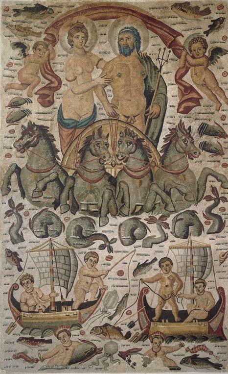 """""""Triumph of Neptune and Amphitrite"""" - Mosaic from ancient Cirta in Algeria, circa  300-350 AD"""