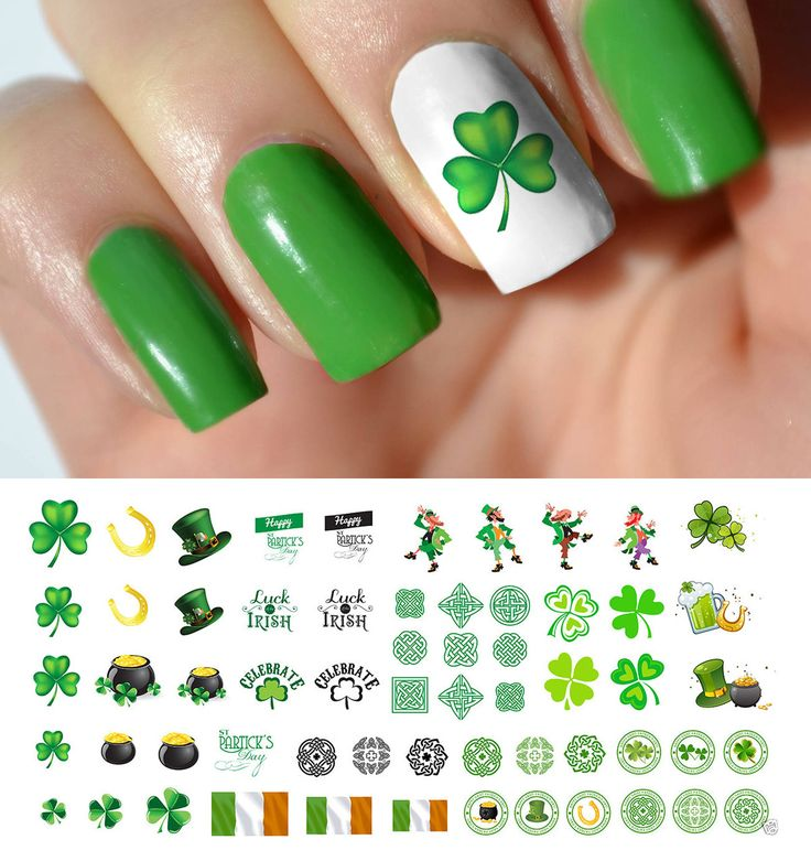 St. Patrick's Day (Luck of the Irish) waterslide nail decals assortment. Saint Patty's is a fantastic holiday and deserves all the festivity you can conjure up. Designs include four-leaf clovers, lepr