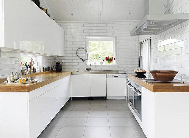Butcher block with subway tile