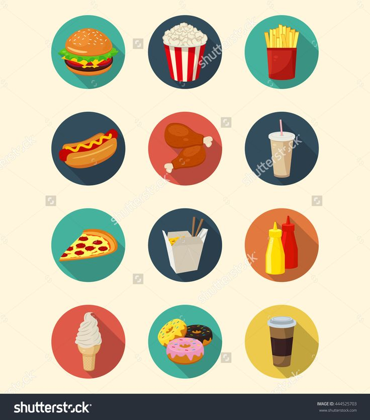 Fast Food Icons Set Modern Flat Design. Healthy Eating Concept. Vector Illustration - 444525703 : Shutterstock