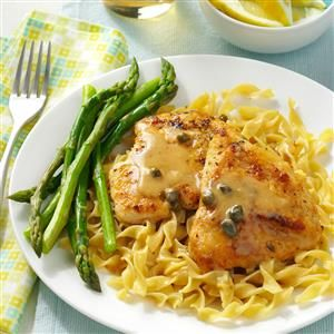 Easy Chicken Piccata Recipe -My chicken dish is ready to serve in a half hour. It takes just a few minutes in the oven to bake to tender perfection. —Hannah Williams, Malibu, California