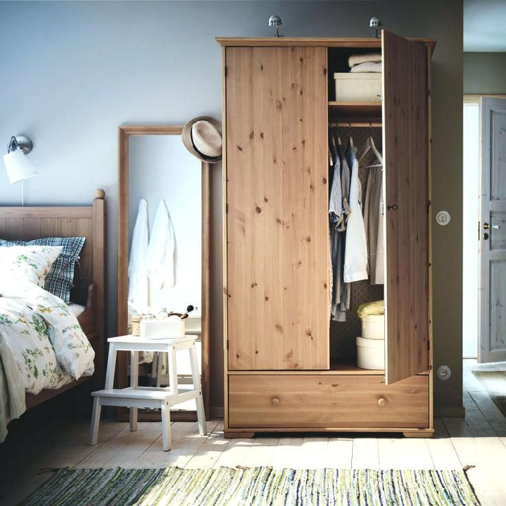 A Bedroom With Hurdal Wardrobe And Bed In Solid Pine And A Stabekk Mirror With Ikea Pine Desks Ikea Childrens Pine Wardrobe Ikea Pine Furniture Quality