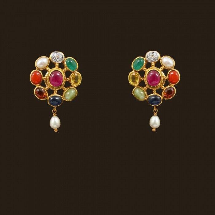 Navaratna Earrings (103A4297) | Vummidi Bangaru Jewellers