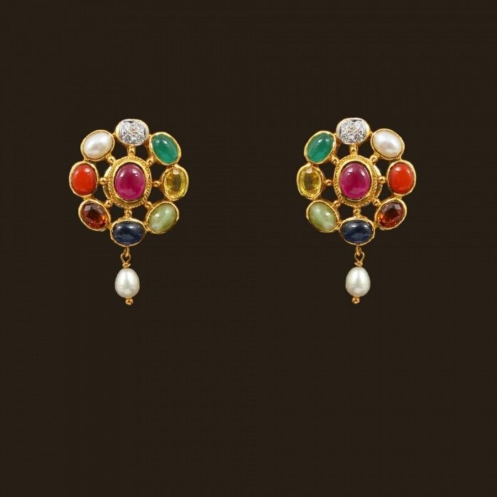 Navaratna Earrings (103A4297) | Vummidi Bangaru Jewellers