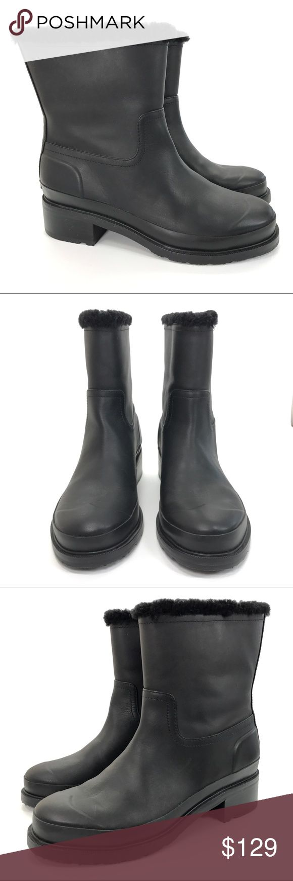 Hunter Original Shearling Lined Leather Pull On Short Mid-calf Winter Rain Snow Boots  Color: Matt Black Condition: New without box or tags. Tried on but never worn. May be some very light/minimal signs of try on and or storage. Hunter Boots Shoes Winter & Rain Boots