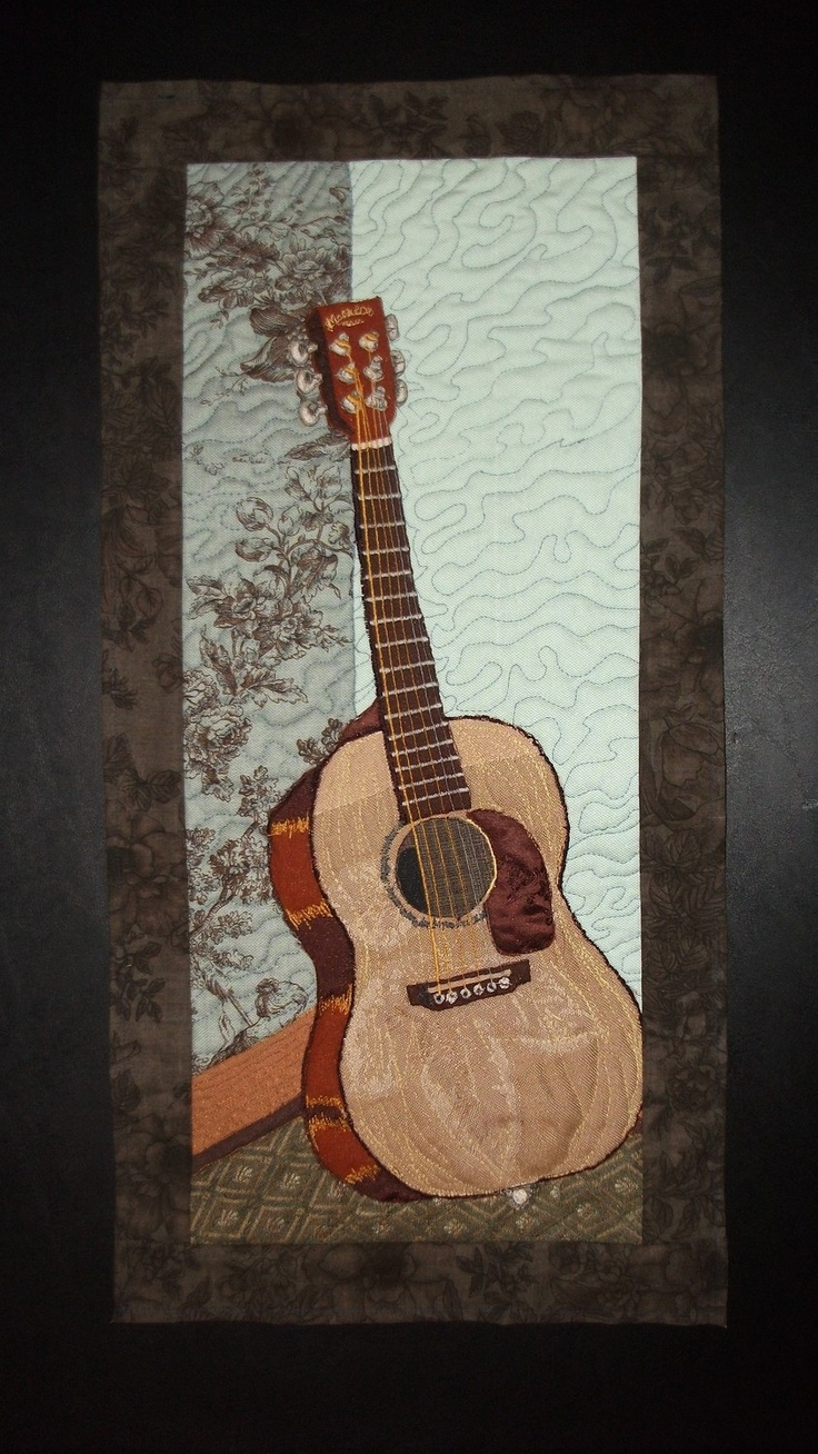 quilted martin guitar wall hanging by wildgingercreations