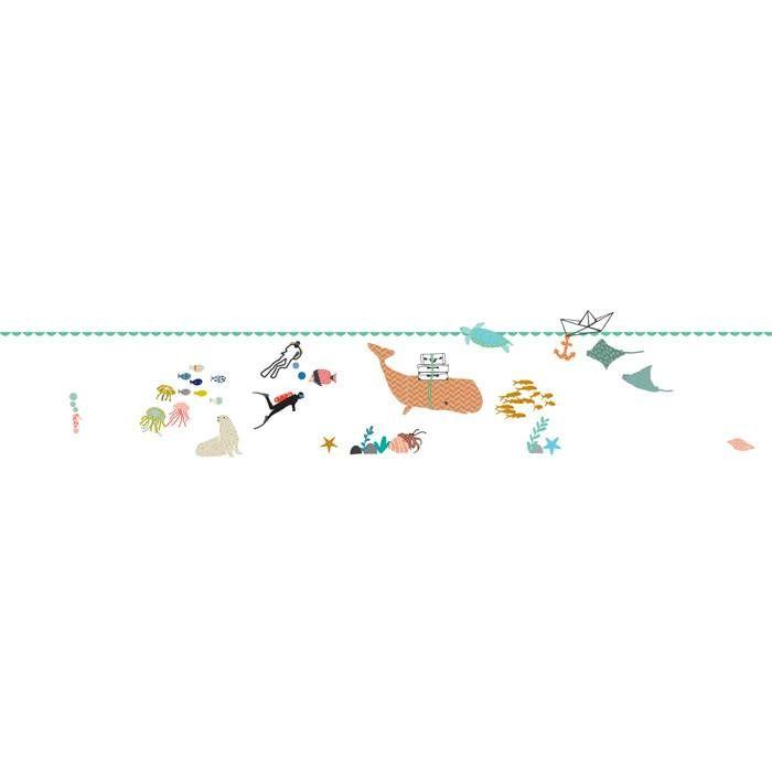 Mimilou muursticker zee: Tover de muur van de kinderkamer om in een onderwaterparadijsje met vissen, duikers en schilpad.
