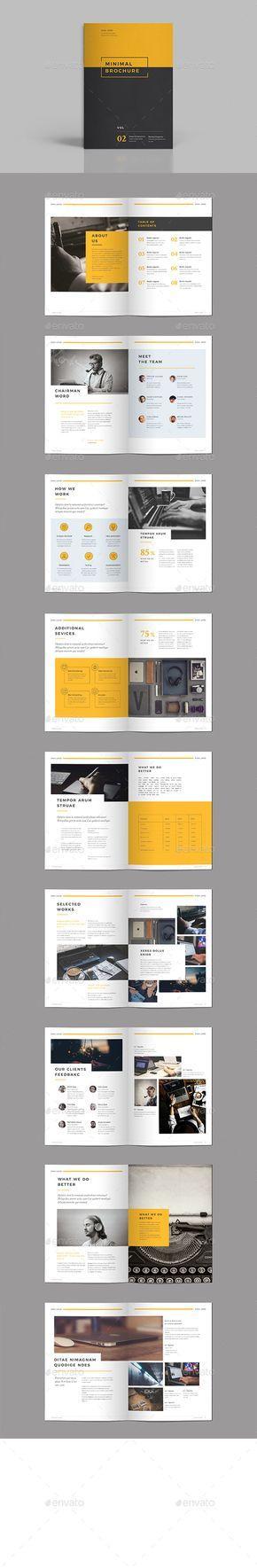 Minimal Brochure Design Template Vol III - Brochures Design Print Template InDesign INDD. Download here: https://graphicriver.net/item/minimal-brochure-vol-iii/19330885?ref=yinkira