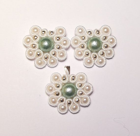 Soutache jewelry.  Soutache Earrings and Pendant by ally2607