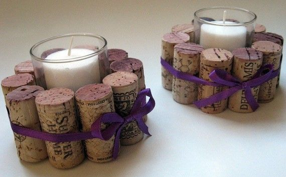 Wine cork votive holder