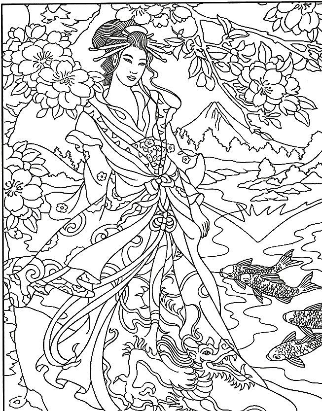 288 best images about geisha on pinterest japanese Japanese coloring book for adults