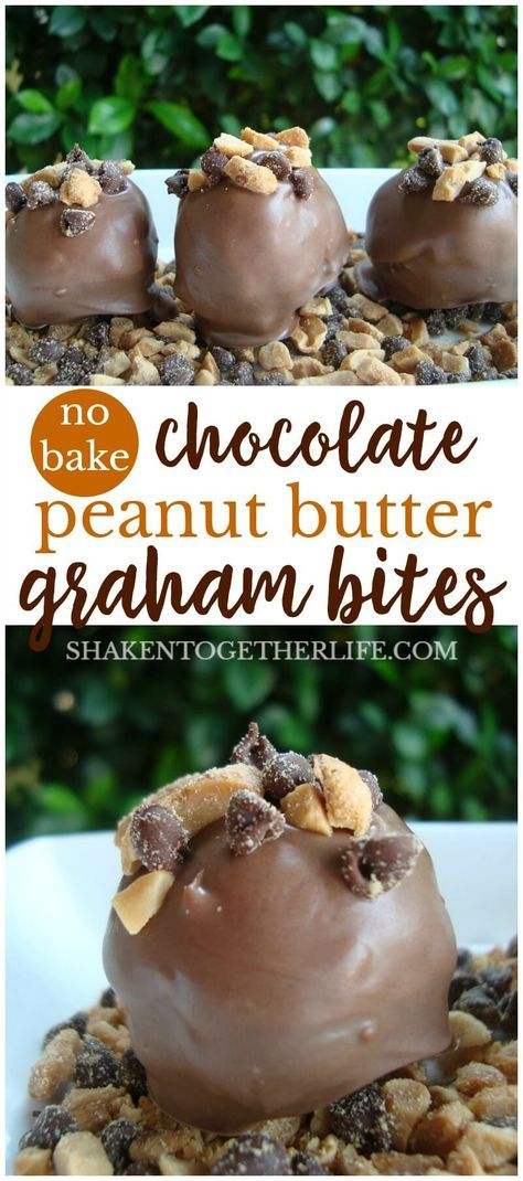 Easy No-Bake Chocolate Peanut Butter Graham Bites - with a crunchy peanut butter center and creamy chocolate outside, these sweet treats are wildly addictive!