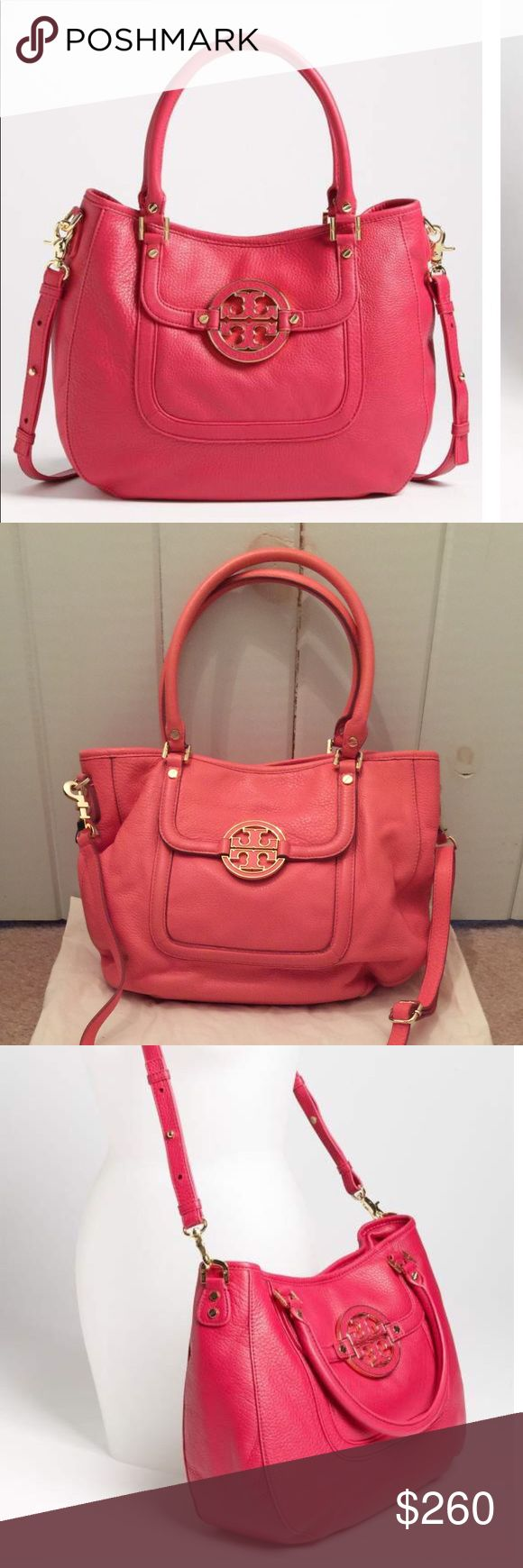 🆕 Tory Burch Amanda Hobo Bag 💯% authentic Tory Burch Amanda Hobo Bag EUC pebbled leather with gold hardware magnetic snap button closure front flap pocket with iconic double T stacked logo medallion logo jacquard lining 1 leather trimmed interior zip pocket 2 interior slip pockets tubular handles gold nail head  metal feet on bottom color pink (dust bag included) Tory Burch Bags Hobos