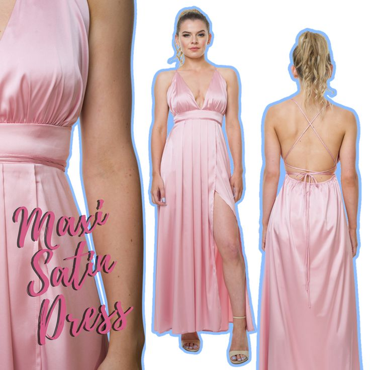 Red carpet ready in our Maxi Satin Dress in Pink. 🌸