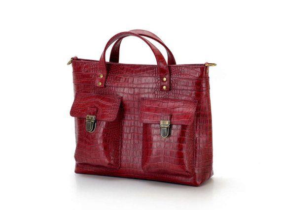 Messenger Bag Briefcase Reptile Leather Imitation Limited