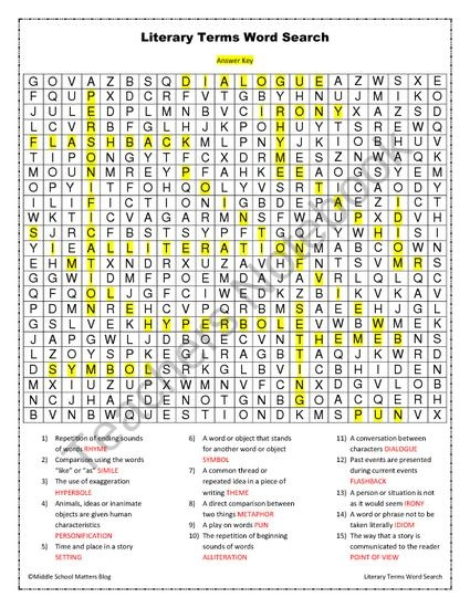 Terms Crossword 1 Literary Answers