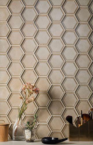 Oceanside Gltile Casa California Collection 4 Framework Hexagon In The Color Sandbar Iridescent