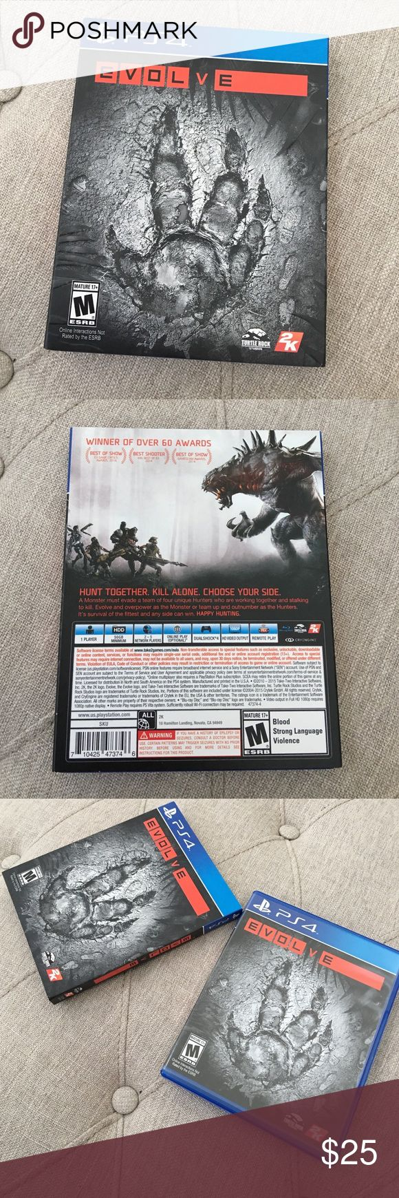 PS4 Evolve PS4 Evolve. Played a few times. Rated M for Mature PS4 Accessories