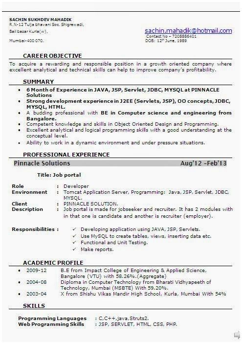For 8 Months Experience | 3-Resume Format | Sample resume format